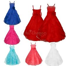 Flower Girl Birthday Pageant Wedding Party Dress Kids Sequins Princess Dress