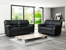 NEW Faux Leather Candy 3 Seater + 2 Seater Sofa Set Black Brown Cream Red Suite