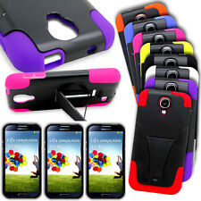 For Samsung Galaxy S4 Hybrid Tough Case Hard Soft Dual Layer Kickstand Cover
