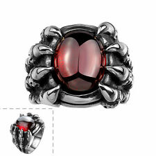 Men's Black 316L Stainless Steel Ruby Cubic Zirconia Cool Gothic Punk Ring