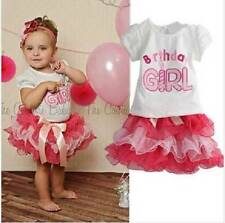 New baby girl toddler 2 pieces birthday tutu dress set pink size 1,2,3,4