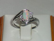 Hand Made Ladies Hallmarked 925 Fine Silver Ethiopian Opal & White Sapphire Ring
