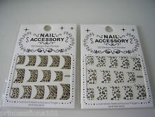 3D Nail Art Stickers Transfers Decals Animal Print Tiger Leopard French Glitter
