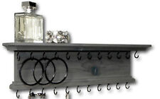 """Jewelry Organizer Necklace Bracelet Holder Hanger Rustic Wall Mounted Gray 18"""""""