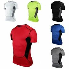 Men Slim Short Sleeve Compression T-Shirts Base Layer Sports Gym Gear Tight Tops
