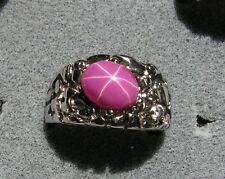 MEN'S 10x8mm 3+ CT LINDE LINDY PINK STAR SAPPHIRE CREATED RUBY SCND STANLES RING