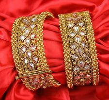 Polki Gold Plated Indian Ethnic Party Wear Fashion Bangles Bracelets Jewelry