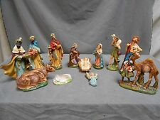LOT VINTAGE PAPER MACHE PLASTER NATIVITY MANGER FIGURE STATUES MARKED ITALY