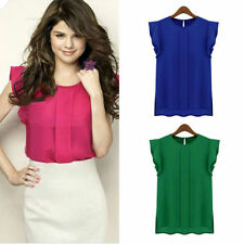 Fashion Women Summer Loose Casual Chiffon Sleeveless Vest Shirt Tops Blouse