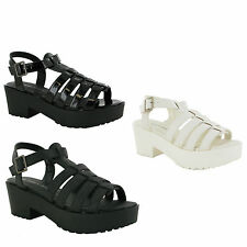 LADIES WOMENS CHUNKY SOLE MID HEEL PLATFORM CUT OUT SHOES GLADIATOR SANDAL SIZE