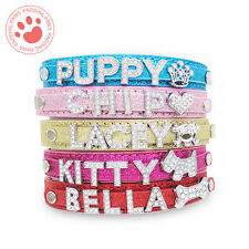 PERSONALISED Dog Cat Pet NAME Collar | BLING PU Leather | Rhinestone Diamante