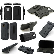 Black Hybrid Car Armor Impact Hard Rugged Holster Box Case Belt Clip Stand Cover