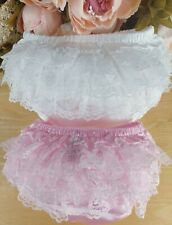 Baby Girls Ivory/Cream Satin Lace Frilly Pants/Knickers, sizes 0-6 6-12 months
