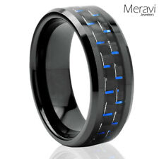 Tungsten Carbide Black Blue Carbon Fiber Men's Jewelry Wedding Band Promise Ring