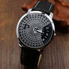 New PAIDU Turntable PU Leather Band Black Dial Quartz Wrist Watch Mens Womens