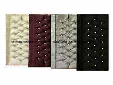 NEW VELVET CRUSHED VINTAGE HEADBOARD FREE P&P AVAILABLE IN 4 COLOURS + 6 SIZES