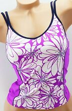 ZeroXposur Swim Tankini Top Swimwear Black Purple White Size 6 8 12 MSRP $42