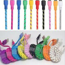 3M Flat Noodle Braided Micro USB Charger Sync Data Cable Cord for iPhone 5 5s 6