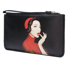 Womens Wallet Wristlet Clutch Purse PU Leather Card Holder Evening Bag Black New