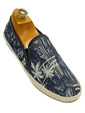 GBX Mens Canvas Fabric Palm Tree Denim Blue Boat Slip On Comfortable Beach Shoe