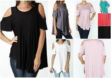 Womens Casual Solid Cold Shoulder Flutter Sleeve Asymmetric Hem Rayon Tunic Top