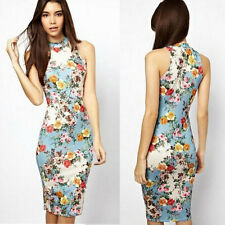 Sexy Women Summer Casual Floral Sleeveless Cocktail Party Bodycon Pencil Dress
