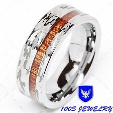 Mens Tungsten Ring Camo Army Hunting Wood Inlay Silver Wedding Band Comfort Fit