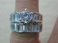 REAL 925 STERLING SILVER Brilliant Cut CZ BRIDAL SET Engagement & Wedding RINGS