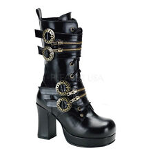 DEMONIA GOTHIKA 100 Ladies BOOTS  Buckle Strap Zip Bronze BLACK BOOTS