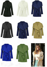 BRAND NEW LADIES WATERFALL BELT JACKET DRAPED WOMEN'S CARDIGAN TRENCH COAT