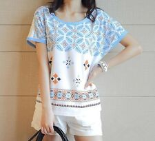Women Floral Print Loose Casual Cotton T-shirt Slim Short Sleeve Tops Blouses