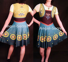 PJ525 Anna costume frozen fever women cosplay one piece ice skating dress casual