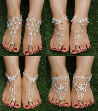 Bridal Crystal Barefoot Sandals Foot Jewelry Ankle Bracelet Toe Ring Beach Gift