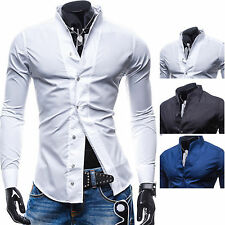 Camicia Uomo maniche lunghe SLim-Fit Long Sleeve Shirt Men c121 t-shirt