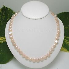 A SIMPLE BAROQUE PEACH PEARL INDIVIDUALLY HAND KNOT NECKLACES CLASP SILVER 925