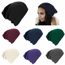 New Unisex Mens Ladies Knitted Woolly Winter Oversized Slouch Beanie Ski Hat