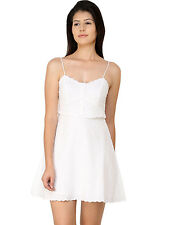 TOPSHOP BRODERIE ANGLAISE DRESS WHITE SUMMER CAMI STRAP SKATER DRESS UK 6-16