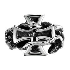 Men's Stainless Steel Black Silver Statement Cross Vintage Ring Gothic Jewelry
