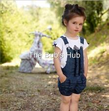 Baby girl toddler 2 PCS set butterfly top jeans overall navy size age 1 2 3 4+
