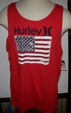 New Hurley red American flag t tee shirt tank top muscle sleeveless sz Medium XL