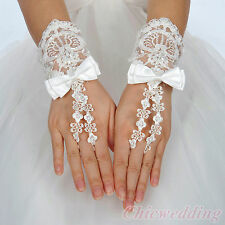 Ivory/White Wrist length Fingerless Lace Bridal Wedding Gloves with Satin Bow
