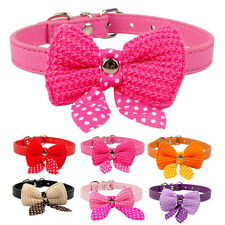Knit Bowknot PU Leather Dog Puppy Cat Collars For Small Dogs Necklace XS S