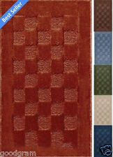 Checkboard Rectangle Sculpted Area Kitchen/Bath Throw Rug - Assorted Colors