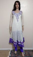 Purple Beige Salwar Kameez Indian Anarkali Long Wedding Party Shawl Rhinestones