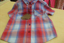 boys summer shirt by ben sherman 100% cotton bnwt red/blue check age 4 to 11 yrs