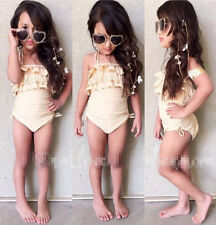 New Baby Kids Girls Ruffle Strappy One-piece Tankini Swimsuit Swimwear Age 2-7Y