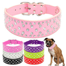 "PU Leather Bling Rhinestone Dog Collar Crystal Dog Collar for Big Breeds 2""Wide"