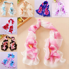 Hot Flowers Girl's Women Long Soft Wrap Ladies Shawl Silk Chiffon Scarf Scarves