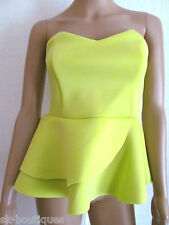 NEW ASOS NEON LIME PEPLUM SCUBA CROP TOP uk sizes 4 8 10 12 14