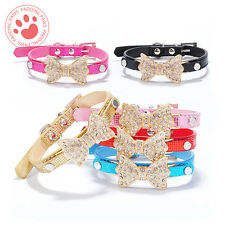 Dog collar | Pet Cat Puppy | Crystal Rhinestone Bowknot | Adjustable PU leather